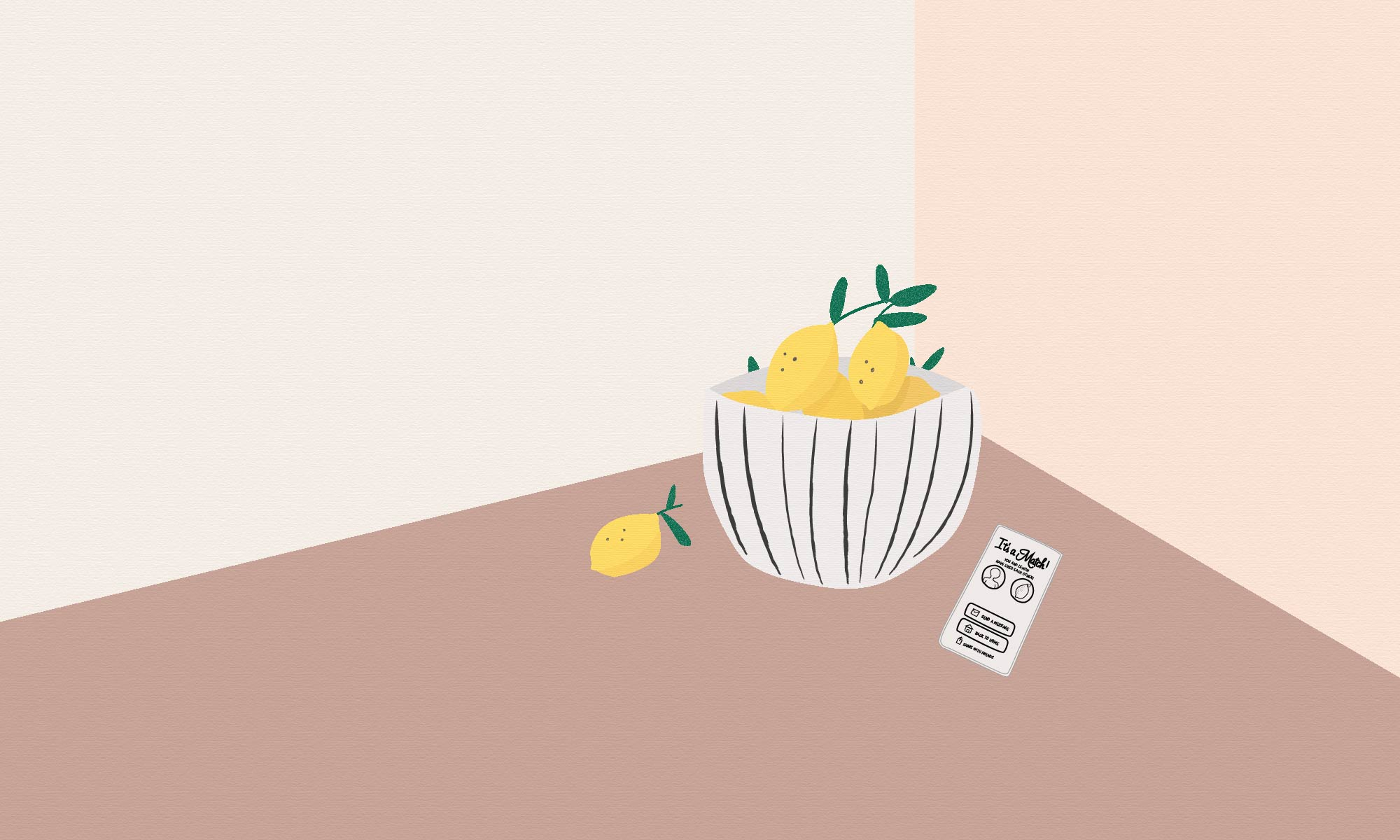 An illustration of a bowl of lemons and a phone screen showing a Tinder match between a person and a lemon