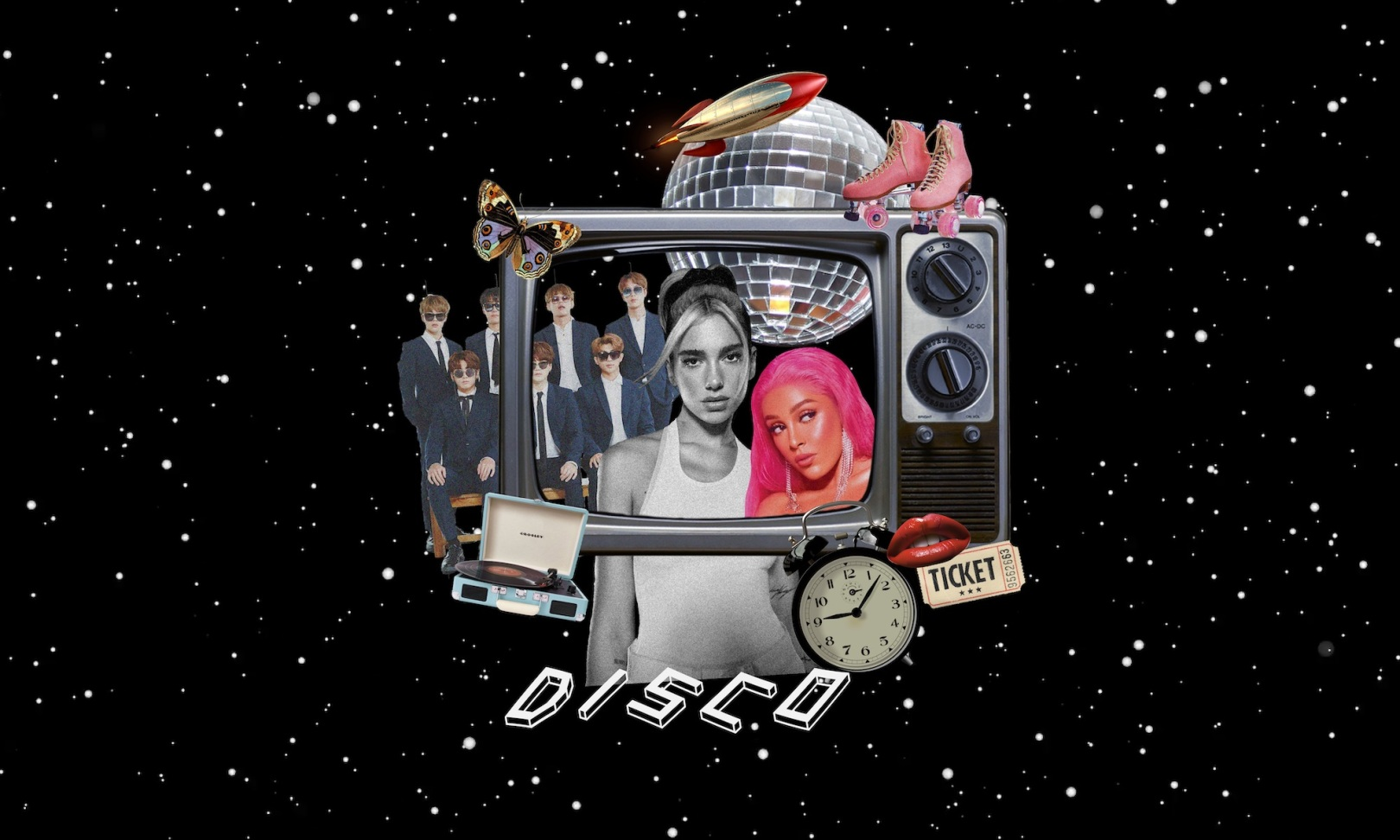 Collage of BTS, Dua Lipa and Doja Cat - WILDCHILD