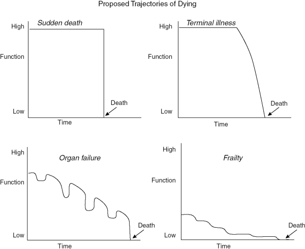 The proposed trajectories of dying - Atul Gawande's analysis in Being Mortal